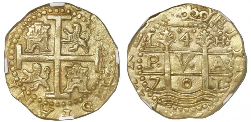foto de Lot: 43 | Lima, PeruLima, Peru, cob 4 escudos, 1701H, posthumous ...