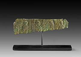 Amphore Spitz geschnitzt cm 50/Terracotta grob