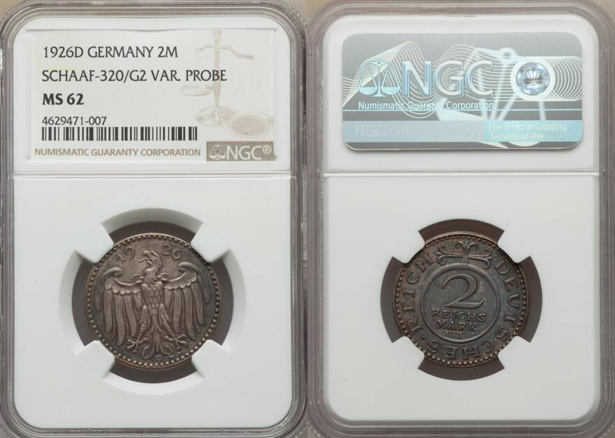 Lot: 34118 | Weimar Republic nickel Pattern 2 Mark 1926-D MS62 NGC