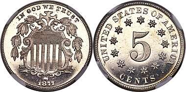 1877-3 INCH SHIELD NICKEL PAPER WEIGHT