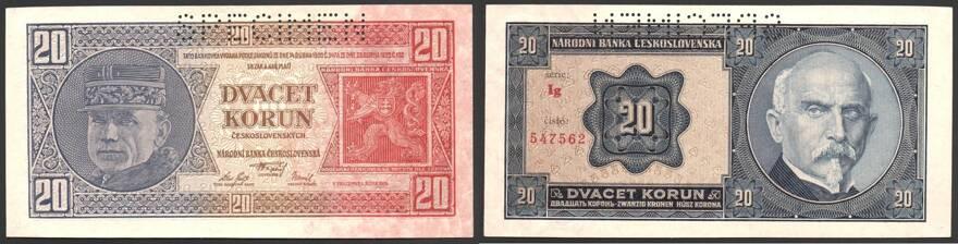 SPECIMEN P-21s UNC CZECHOSLOVAKIA 20 KORUN 1926