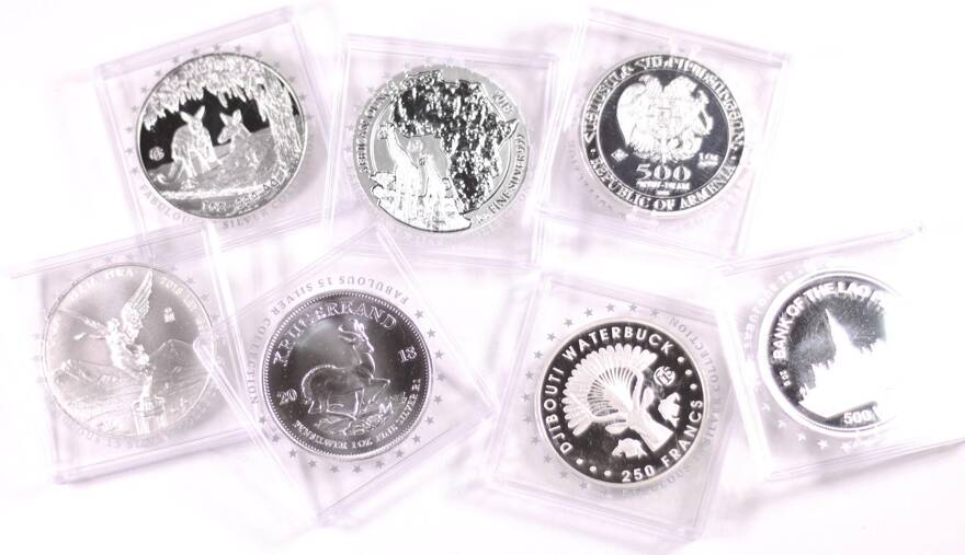 7x 1 Oz Silver Coins From Mints Around