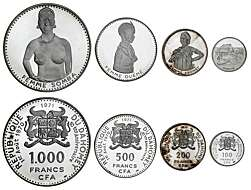 NEW CALEDONIA 7 PIECE UNCIRCULATED COIN SET 1 TO 100 FRANCS