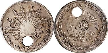1783 Mo FF Mexico Bust 8 Reale America/'s First SIlver Dollar Shipwreck Pillar